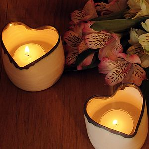 Heart Porcelain Tealight Holder - votives & tea light holders