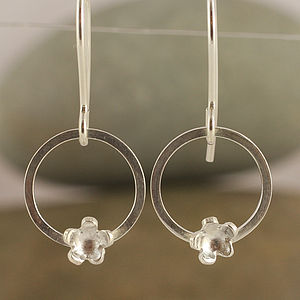 Silver Forget Me Not Circular Drop Earrings