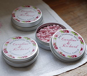 15 Personalised Rambling Rose Favour Tins - cakes & treats