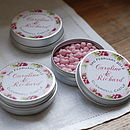 15 Personalised Rambling Rose Favour Tins