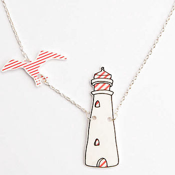 Light House And Seagull In Flight Necklace