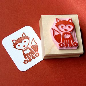 Woodland Fox Hand Carved Rubber Stamp - stamps & ink pads