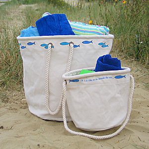 Set Of Two Canvas Beach Bags