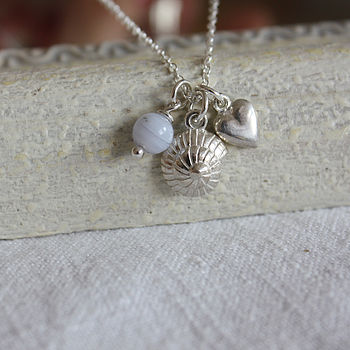 Shell, heart, blue lace agate charm