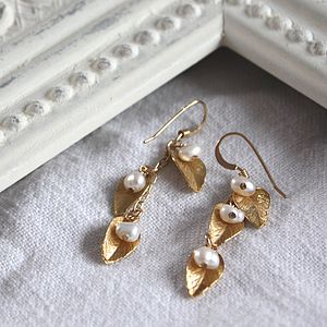 Delilah Gold Leaf And Bead Earrings - wedding jewellery