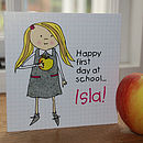 Personalised First Day At School Card