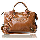 Tan Leather Shoulder Biker Bag