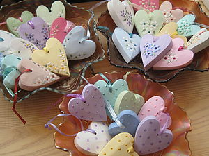 Decorated Hearts On Ribbon - wedding favours