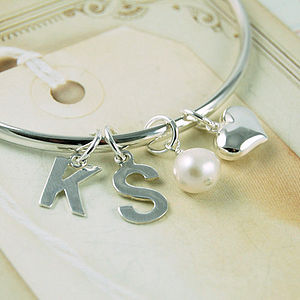 Personalised Initial Bangle - charm jewellery