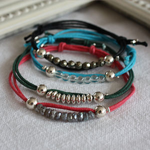Colourful Cord Bracelet With Charm Or Beads