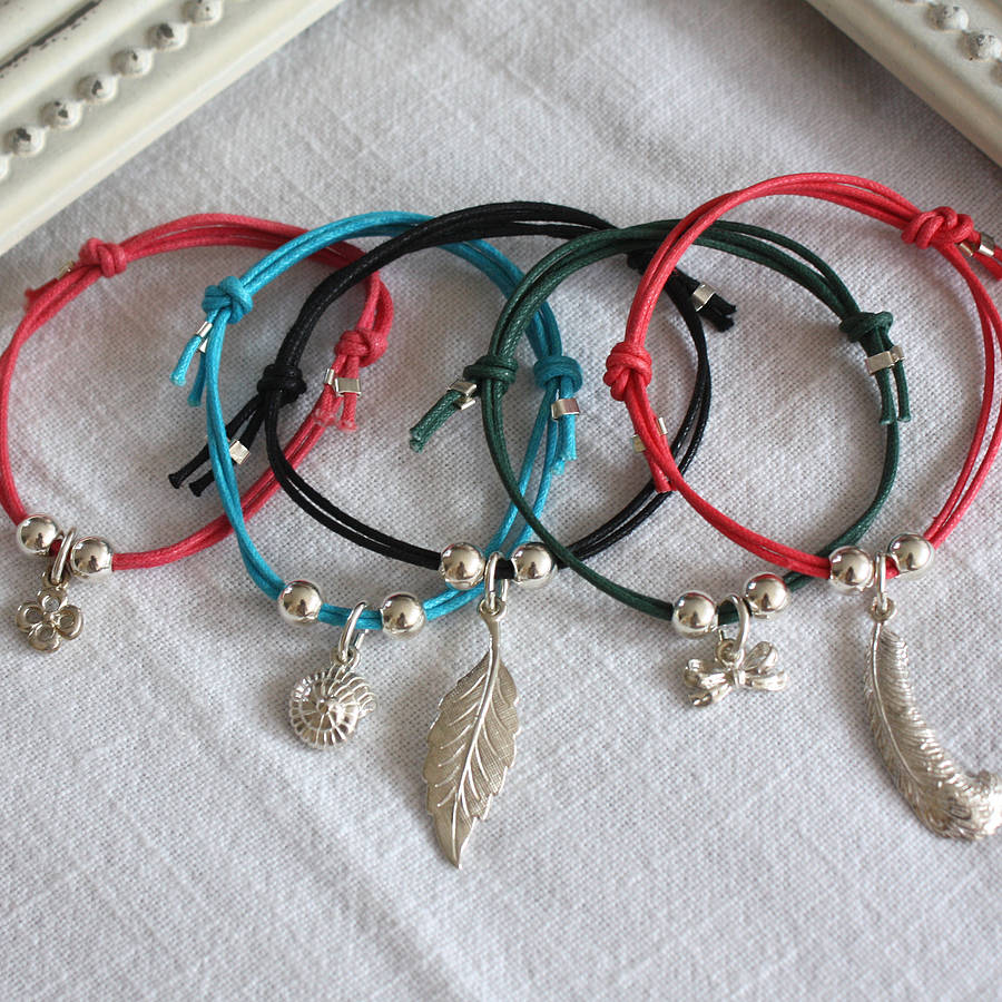 Colourful Cord Bracelet With Charm Or Beads By Harry Rocks
