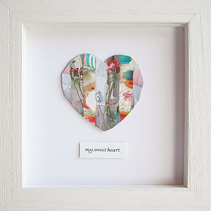 Personalised Framed Heart Collage Picture - pictures & prints for children
