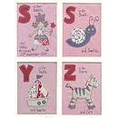 pink s is for.. snail, yacht, zebra