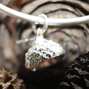 Acorn Cup Bangle - Sterling Silver - charm jewellery