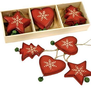 Set Of Twelve Heart And Star Tree Decorations