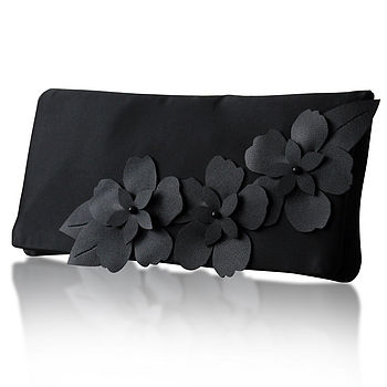Astor Satin Flower Clutch More Colours Available