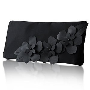 Astor Satin Flower Clutch More Colours Available - bags & purses