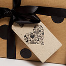 Espresso Heart Tag on present