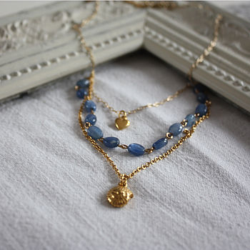 Three Row Gold Chain And Charm Necklace