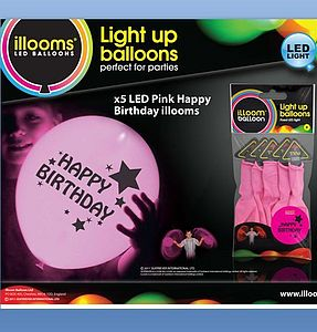Happy Birthday Pink Light Up Balloons - 5pk - lighting