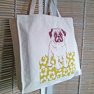 Screen printed bag with quirky pug drawing - womens