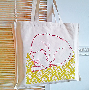 Sleeping Greyhound Screen Printed Bag