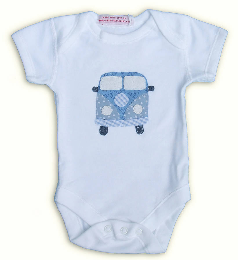 a20e8af8d campervan applique motif baby grow by lemon tree trading ...