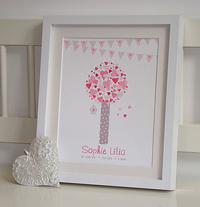 'Hearts Tree' Baby Girl Personalised Print - shop by price