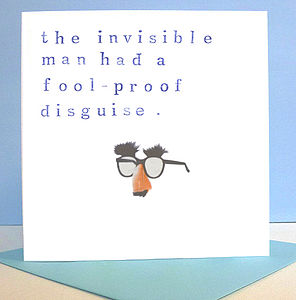 Handmade 'Invisible Man' Birthday Card