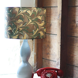 Camouflage Green Marbled Silk Lampshade - office & study