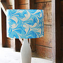 Skyblue Hand Marbled Silk Lampshade