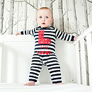 Personalised Stars Navy Stripe Romper