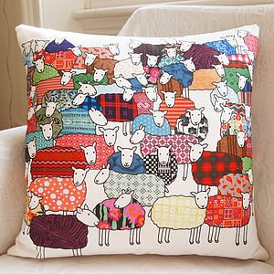 Colourful Sheep Cushion Large - bedroom