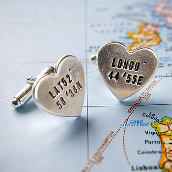 Personalised Silver Heart Location Cufflinks