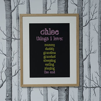 Personalised 'Things I Love' Art Print Pink/Yellow