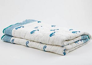 Hand Printed Sea Horse Quilted Baby Blanket