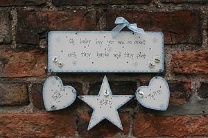Personalised Handmade Baby Boy Birth Plaque - children's decorative accessories