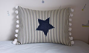 Blue Stripe Star Cushion - cushions