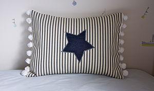 Blue Stripe Star Cushion - soft furnishings & accessories
