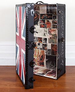 Union Jack Trunk With Images Of Naked Ladies - boxes, trunks & crates