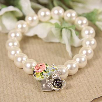 White rose bead with rose charm, clear Swarovski crystal and tiny vintage pink glass bead