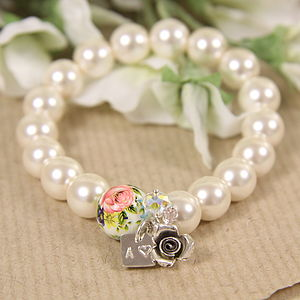 Handmade Initial Pearl Bracelet - what women want
