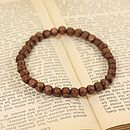 Brown Wooden Cube Bead Bracelet