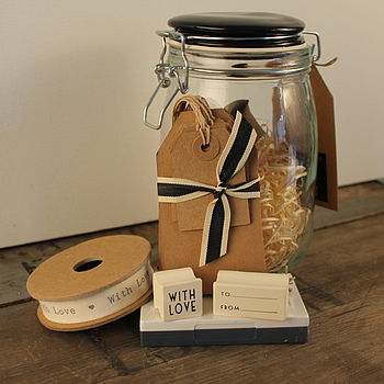 Glass Jar Gift Tag Set With Stamps And Ribbon