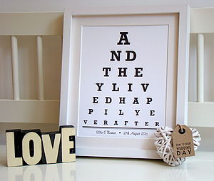 Personalised Wedding Eye Chart Print - posters & prints