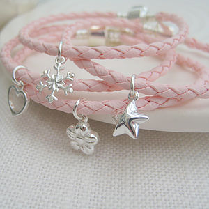 Leather Friendship Bracelet With Silver Charm - children's jewellery