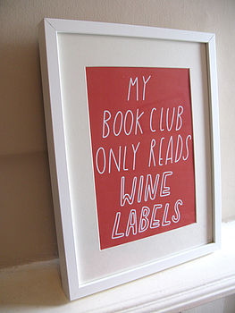 Book/Wine Club A4 Poster/Print