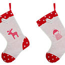Hand Printed Christmas Stockings - Angel & Reindeer Design