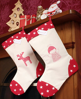 Hand Printed Personalised Christmas Stockings