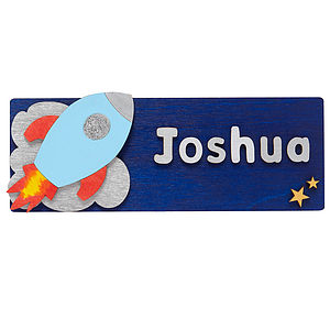 Personalised 3D Rocket Door Plaque - children's room